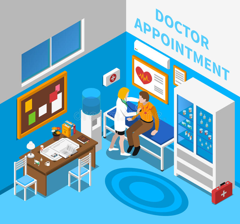 Doctor Examining Patient Isometric Poster royalty free illustration