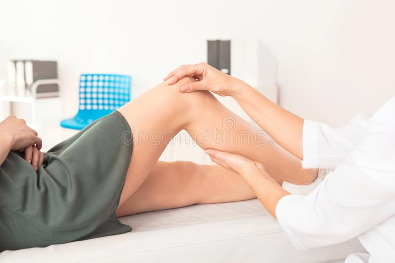 Doctor examining patient with knee problems in clinic stock photography