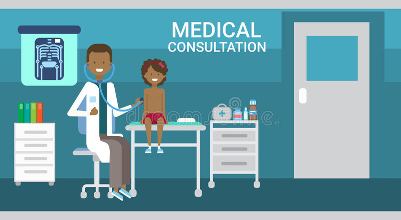 Doctor Examining Patient Medical Consultation Health Care Clinics Hospital Service Medicine Banner. Flat Vector Illustration royalty free illustration