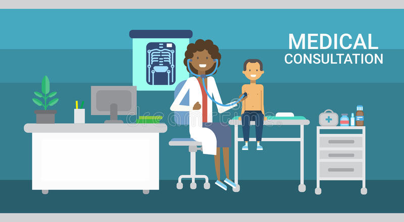 Doctor Examining Patient Medical Consultation Health Care Clinics Hospital Service Medicine Banner. Flat Vector Illustration stock illustration