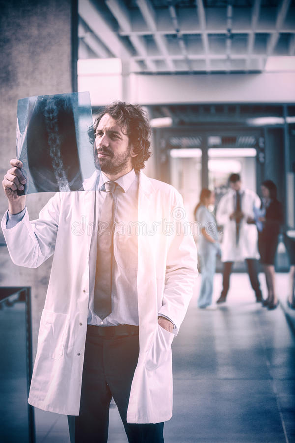Doctor examining X-ray report at hospital. Doctor examining X-ray report at the hospital premises stock photography