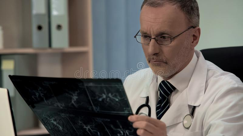 Doctor examining venogram, blockage of blood vessels, risk of heart attack. Stock photo royalty free stock photo