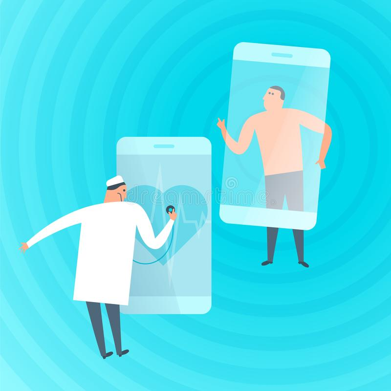 Doctor exams patient`s heartbeat by phone. Telemedicine, telehea. Doctor exams patient`s heartbeat by phone. Online, tele medicine flat concept illustration royalty free illustration