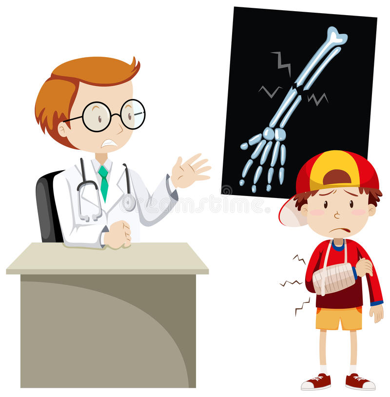 Doctor explaining x-ray film to boy. Illustration vector illustration