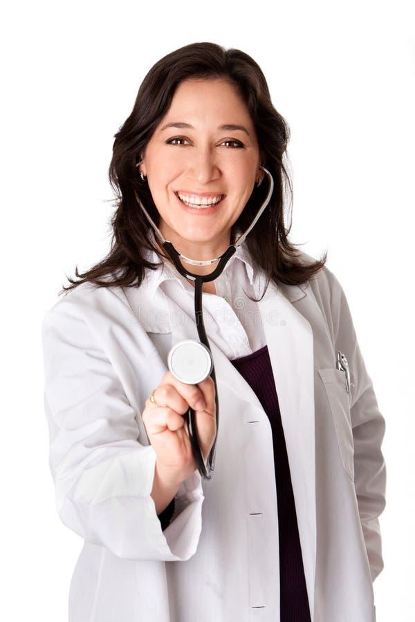 Doctor feliz con el estetoscopio imagen de archivo libre de regalías