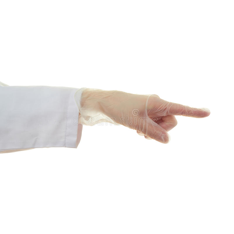 Doctor female hand over white isolated background. Doctor female hand in rubber glove gesture over white isolated background stock photos