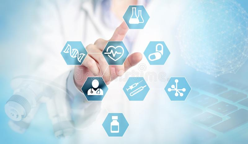 Medical research at your fingertips. Doctor finger touching medical and research blue icons on abstract blue background royalty free stock photos