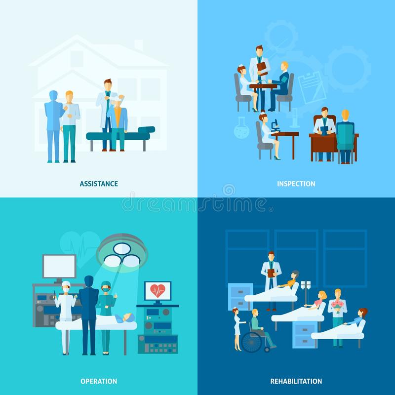 Doctor Flat Set royalty free illustration