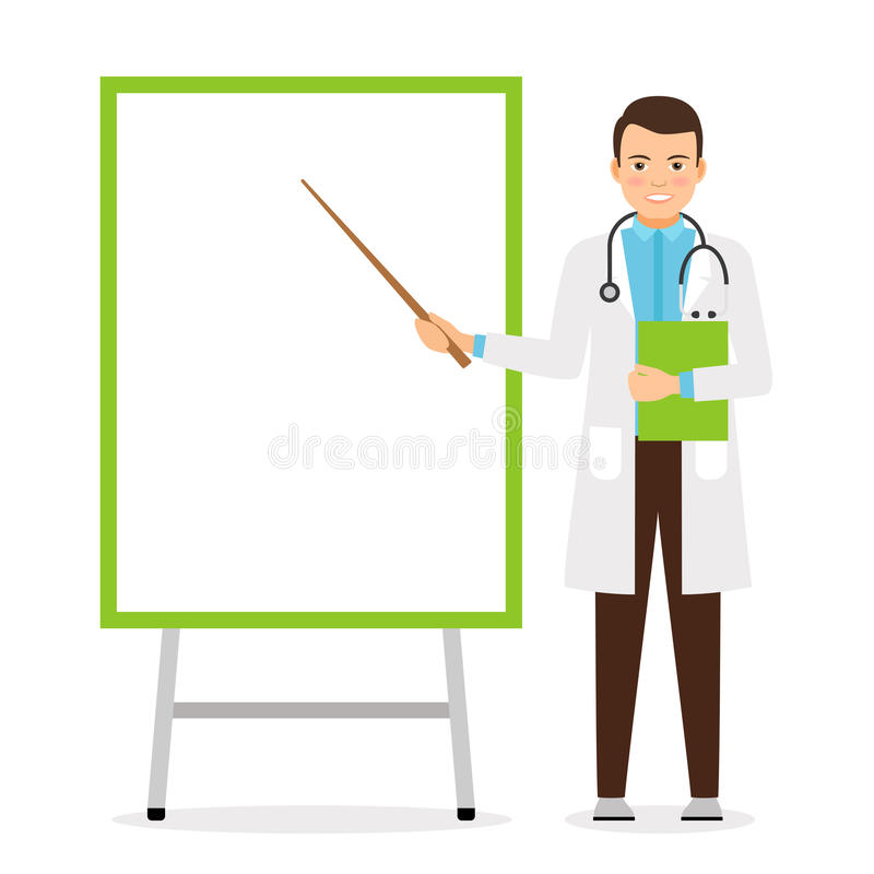 Doctor with flip chart board. Doctor with flip chart white board, vector illustration royalty free illustration