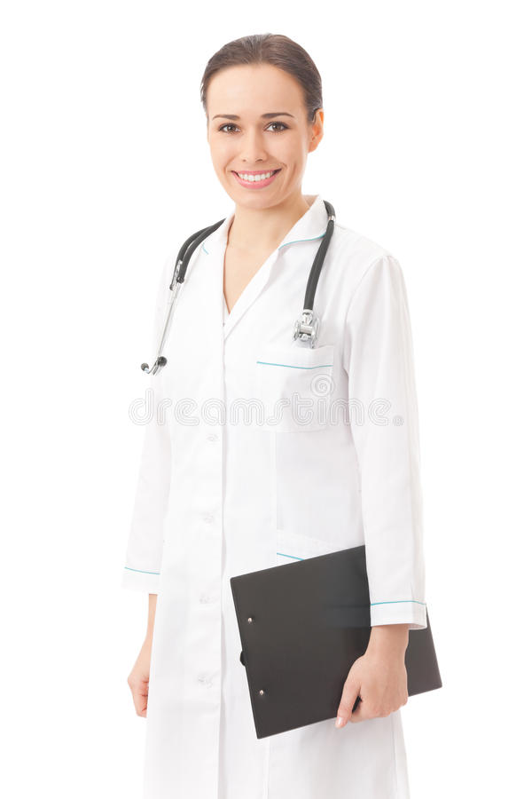 Doctor with folder, isolated. On white stock photography