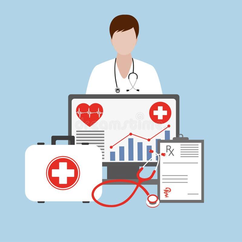Doctor fuera del monitor de la pantalla Salud del servicio informático Conceptos de diseño planos modernos libre illustration