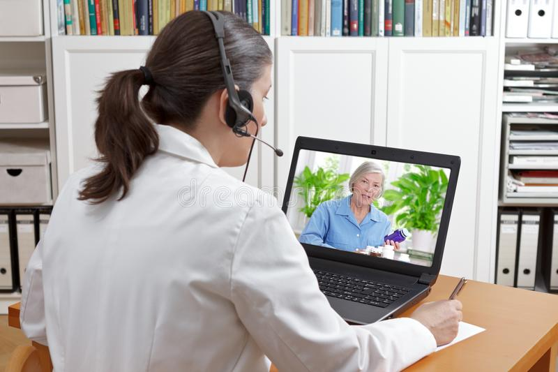 Doctor video call patient drugs royalty free stock photo