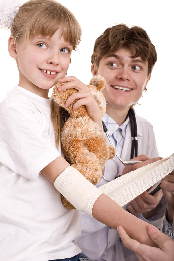 Doctor give first aid of child. Isolated. royalty free stock images
