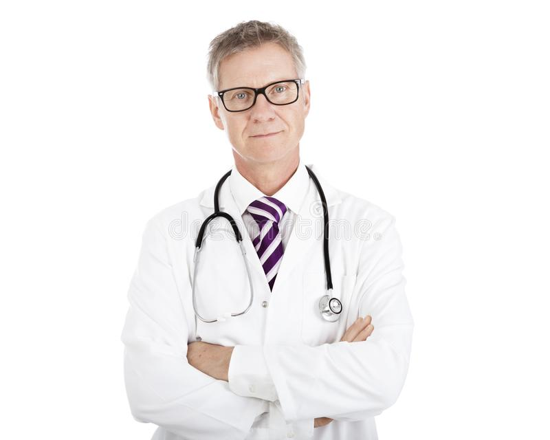 Doctor in Glasses Having Stethoscope on Shoulders. Doctor in Eye Glasses Wearing Scrub Suit Having Stethoscope on Shoulders, Isolated on White royalty free stock image