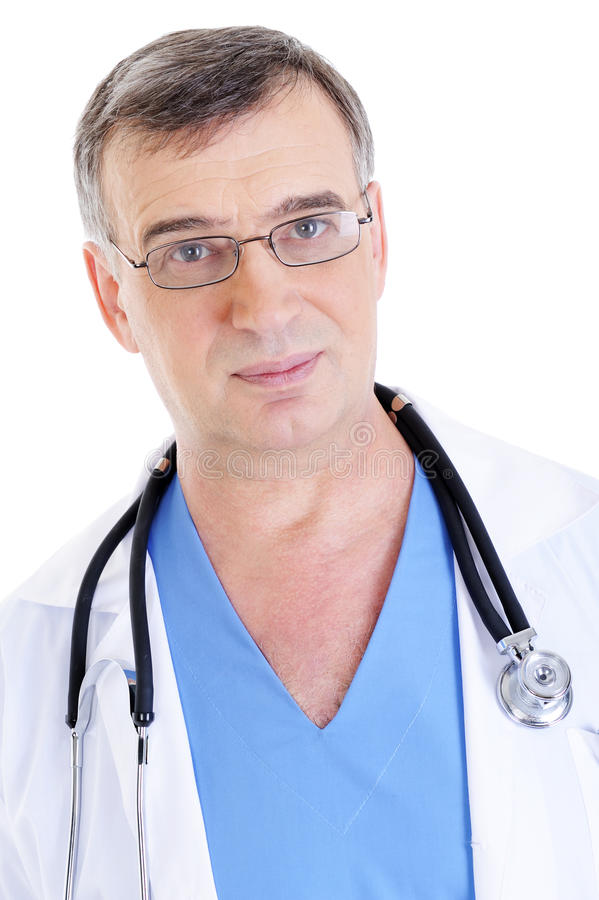 Doctor in glasses and stethoscope. Portrait of mature male doctor in glasses and stethoscope - isolated royalty free stock image