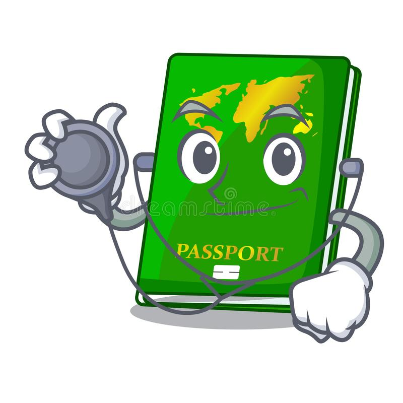 Doctor green passport in a character bag. Vector illustration vector illustration
