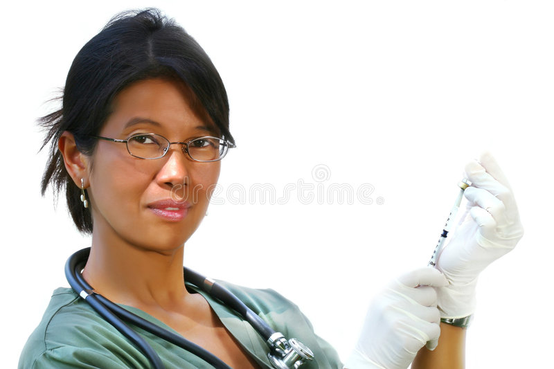 Doctor in green scrubs stock image