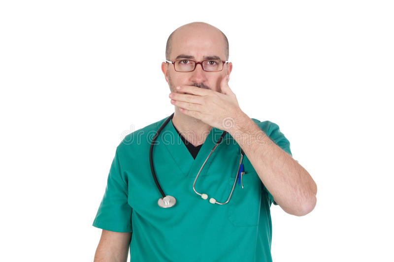 Doctor with the hand on his mouth royalty free stock photos