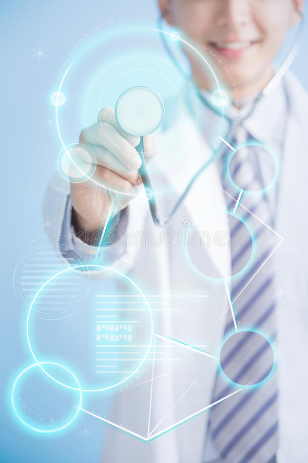 Doctor hand hold stethoscope stock images