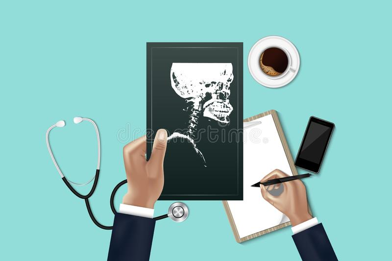 Doctor hand is holding patient X-ray film for physical examining while other hand is taking note data report., Workspace of. Medicine doctor with stethoscope vector illustration