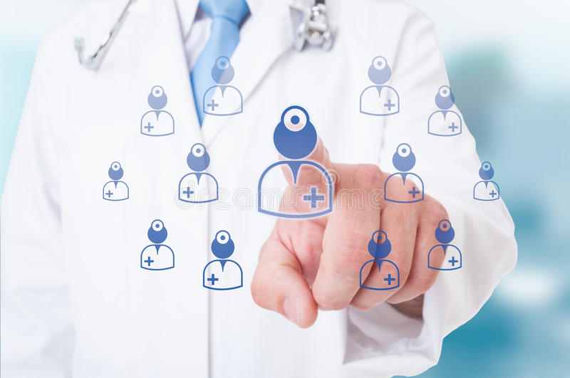 Doctor hand pointig on futuristic modern icons royalty free stock photography
