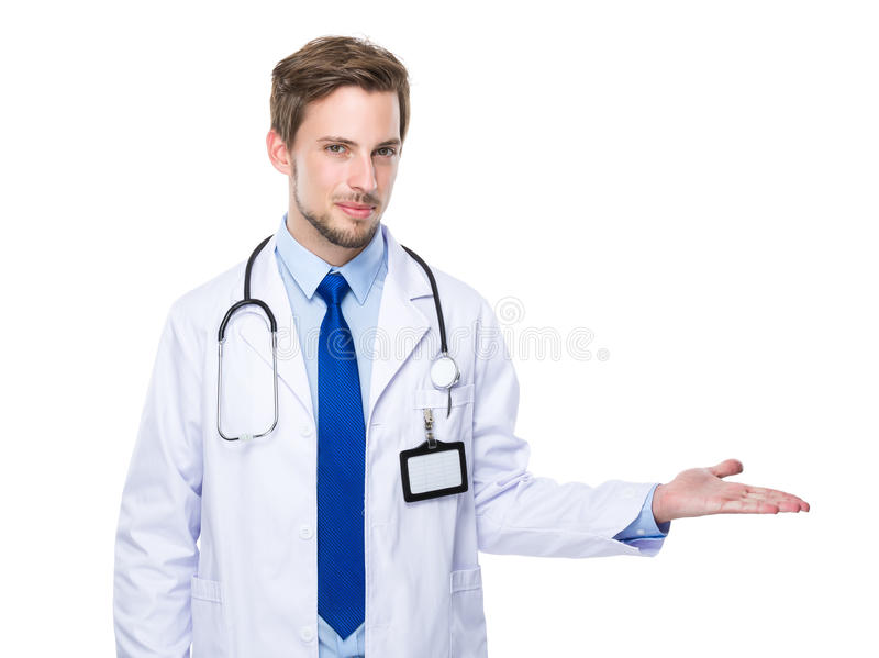 Doctor with hand show with blank sign royalty free stock image