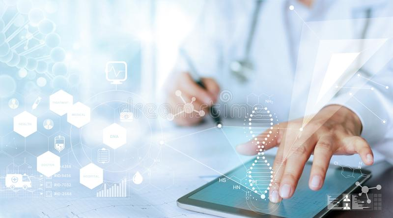 Doctor hand touching computer interface as medical network stock photo