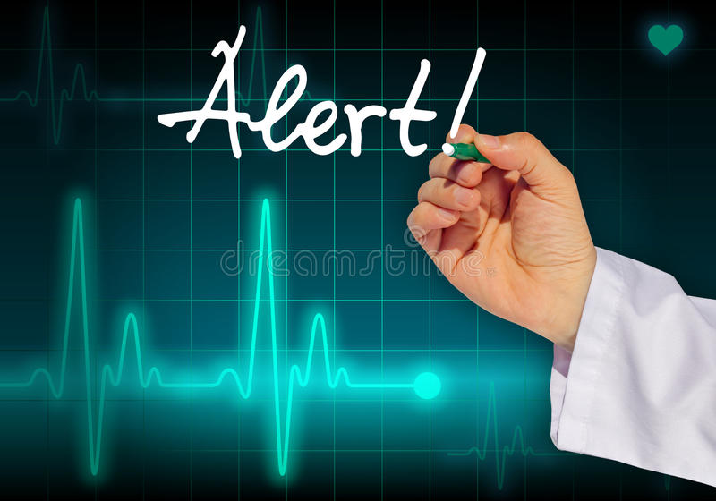 download doctor hand writing message alert stock illustration illustration of hand heartbeat 43876508