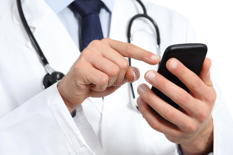 Doctor hands texting on a smart phone. Isolated on a white background stock photo