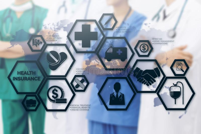 Doctor with Health Insurance Modern Interface Icon. Health Insurance Concept - Doctor in hospital with health insurance related icons in modern graphic interface stock photos