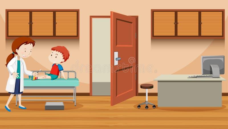 Doctor helping injured boy stock illustration