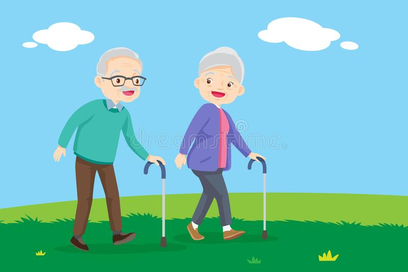 Elderly couple walking.Old senior man and woman walking together vector illustration