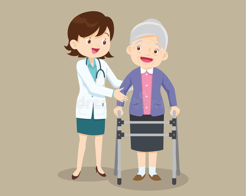 Doctor helps her grandmother to go to the walker stock illustration