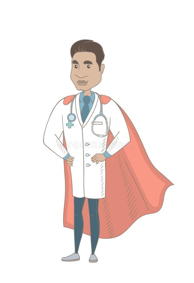 Doctor hispánico joven vestido como super héroe libre illustration