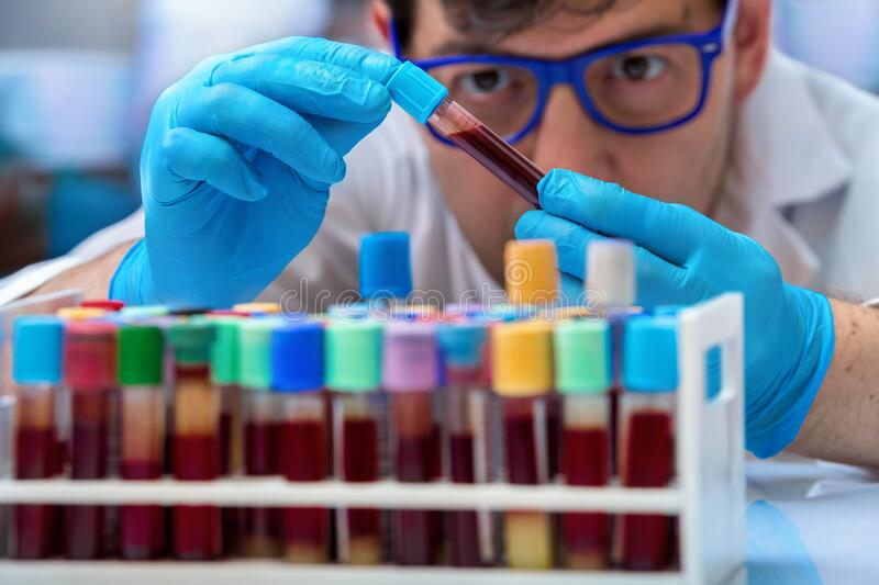 Doctor holding a blood sample tube for analysis in the lab stock photos