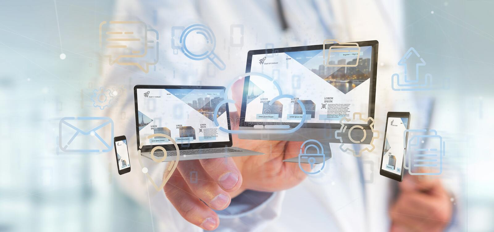 Doctor holding a Devices connected to a cloud multimedia network 3d rendering. View of a Doctor holding a Devices connected to a cloud multimedia network 3d vector illustration