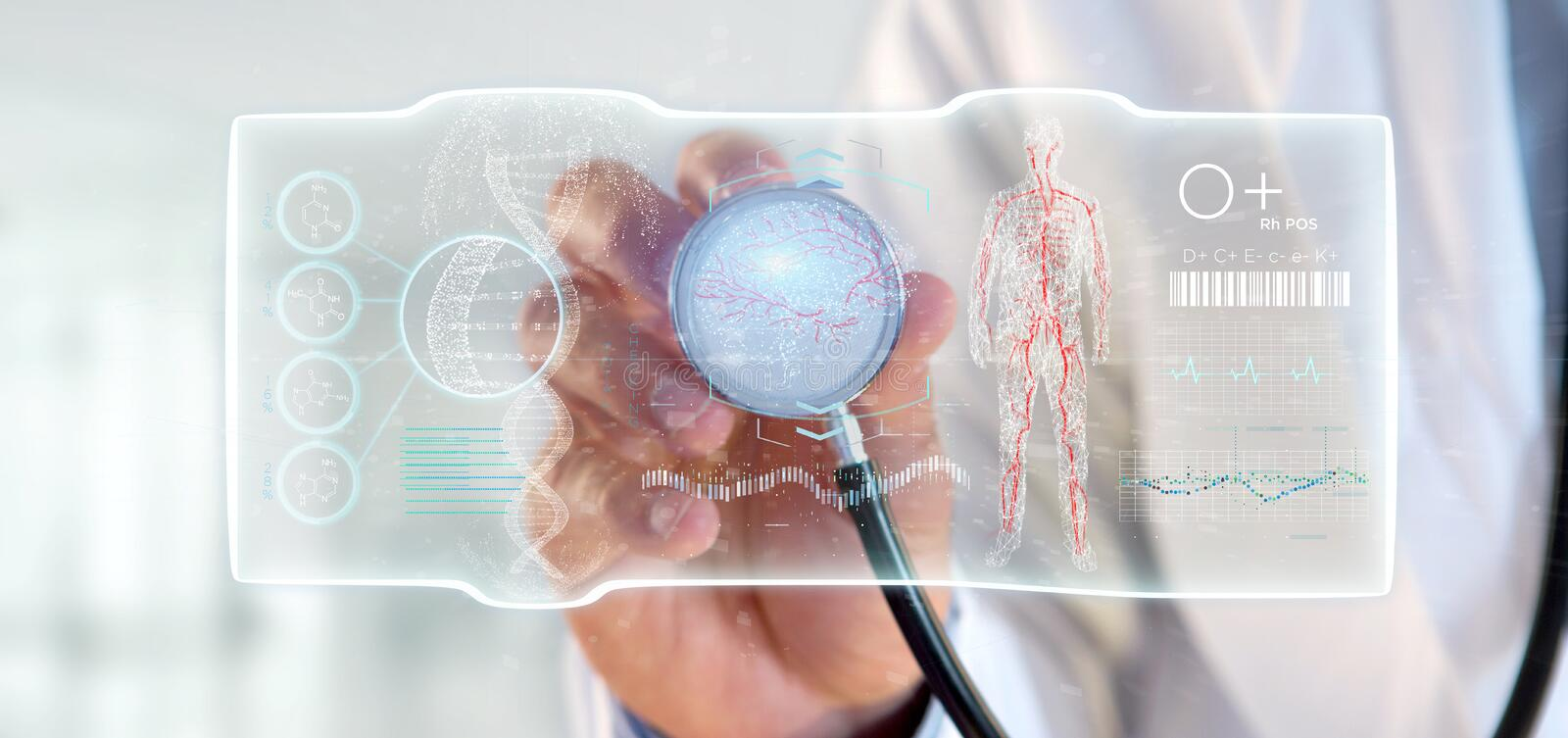 Doctor holding a Futuristic template interface hud. View of a Doctor holding a Futuristic template interface hud stock illustration