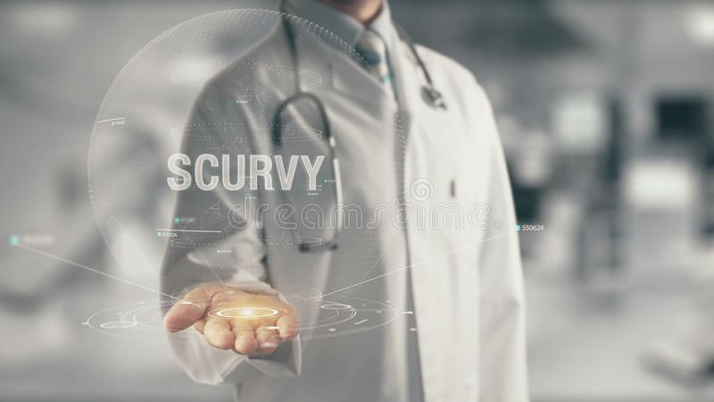 Doctor holding in hand Scurvy. Concept of application new technology in future medicine stock images
