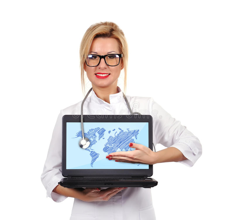 Doctor holding laptop stock photography