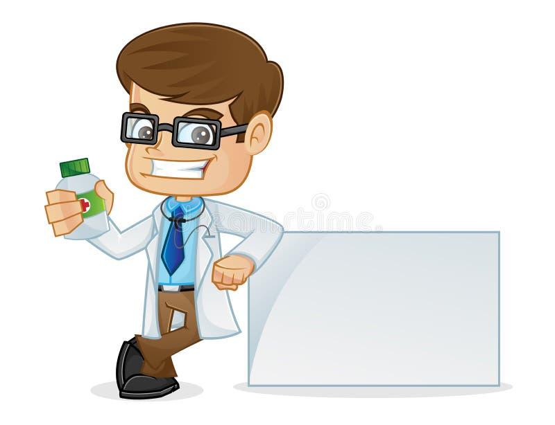 Doctor Holding Medicine Bottle y el inclinarse en una muestra en blanco stock de ilustración