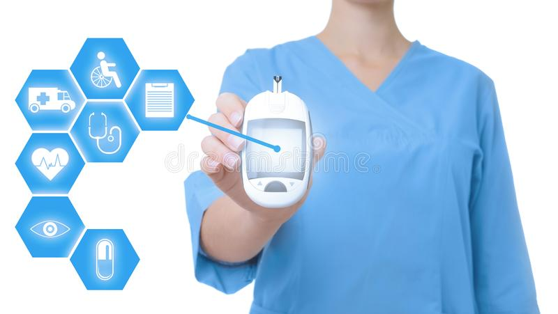 Doctor holding modern medical device and informational icons on white background royalty free stock photos