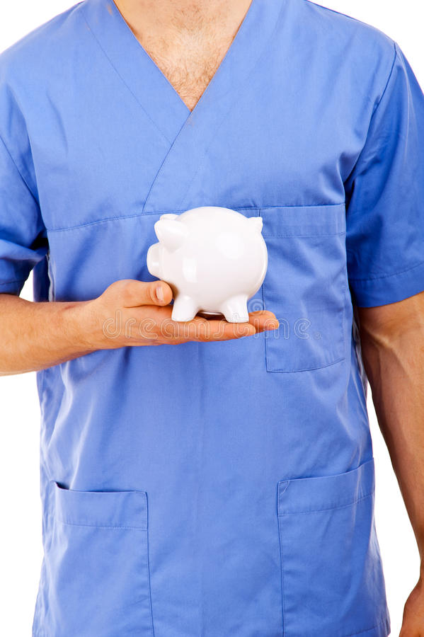 Download Doctor Holding Piggy Bank Abstract Stock Image - Image: 32323037