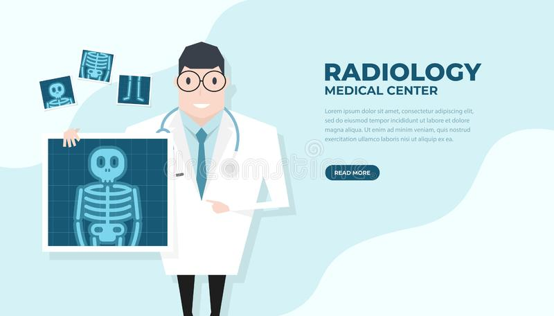 Doctor holding x-ray film. Health check up banner. Vector stock illustration