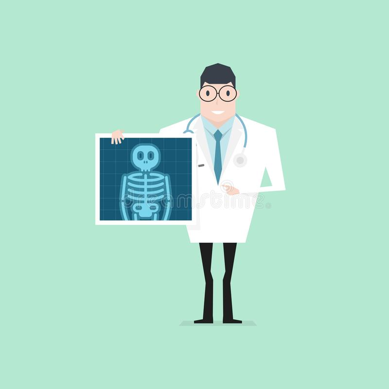 Doctor holding x-ray film. Health check up. Vector stock illustration