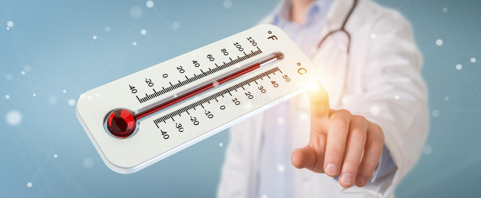 Doctor holding red hot digital thermometer 3D rendering stock illustration