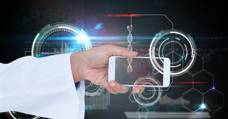 Doctor holding smart phone against virtual screen stock images