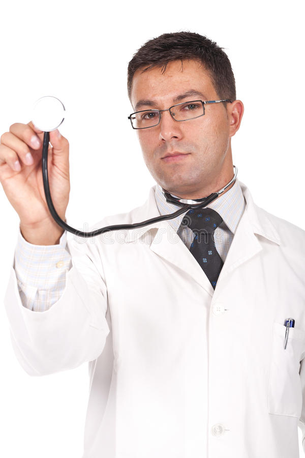 Doctor holding a stethosope royalty free stock images