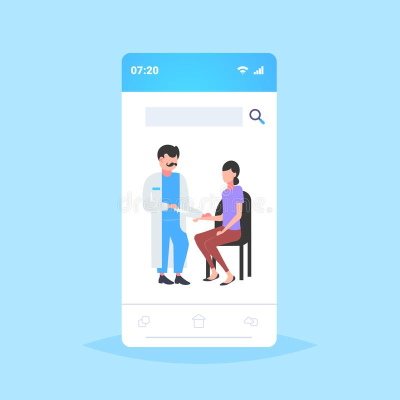 Doctor holding syringe giving injection vaccine shot to woman patient vaccination healthcare medicine concept smartphone stock illustration