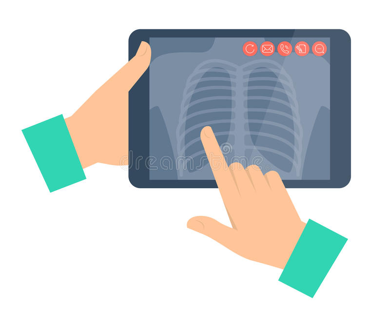 Doctor holding a tablet computer with lung radiography. Telemedicine, telehealth. Doctor holding a tablet computer with lung radiography. Telemedicine vector illustration