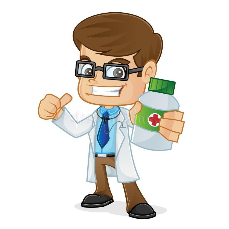Doctor a Holding una botella de la medicina y del donante pulgar para arriba libre illustration